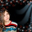 Background with portrait teen girl — Foto de Stock