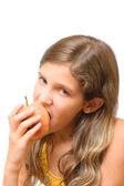 Girl eat apple — Stock Photo