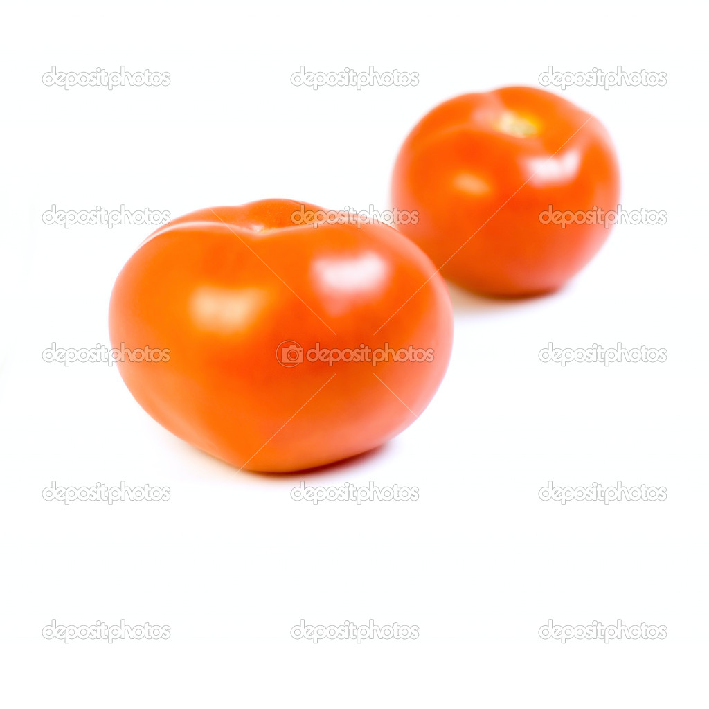 Two tomato isolated on white for your design — Stock Photo #2311504