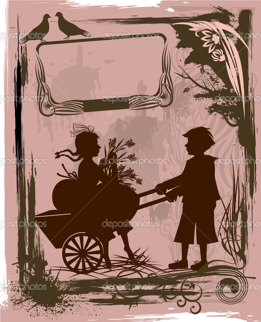 Illustration in retro style with silhouettes of children — ベクター素材ストック #1430041