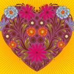 Corazón floral Valentine — Vector de stock