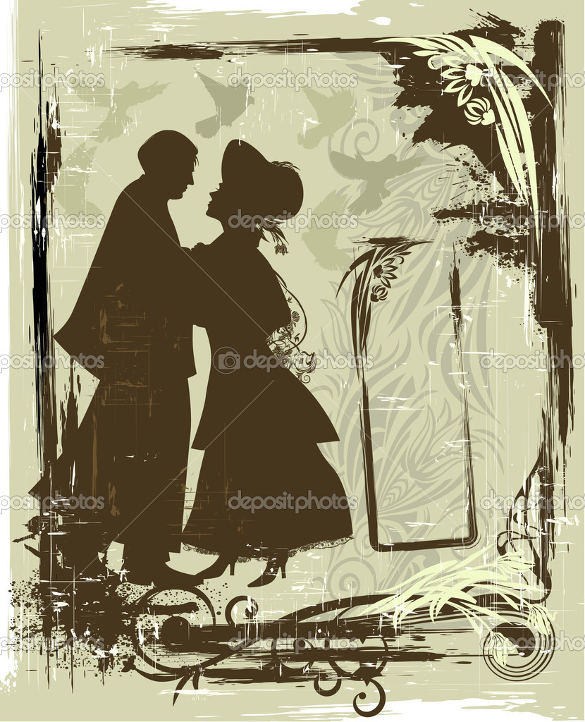 Illustration in retro style with silhouette of couple — Stok Vektör #1456150