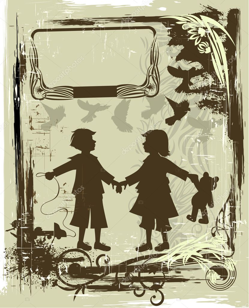 Illustration in retro style with silhouettes of children — Stok Vektör #1456163