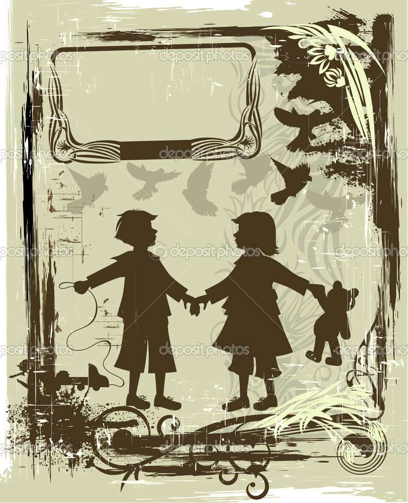 Illustration in retro style with silhouettes of children — Vettoriali Stock  #1456163