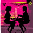 Royalty-Free Stock Vector Image: Two women in the cafe