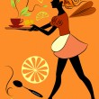 The elf-waitress — Imagen vectorial