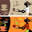 Banners with the tea and coffe - Imagen vectorial