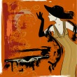 Woman singing in the cabaret - Imagen vectorial
