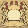Vector de stock : Art nouveau frame with poppies