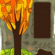 Autumn background with the tree — Imagen vectorial