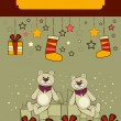 Christmas card with the bears — Stock Vector #1465452