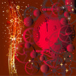 Christmas card with the clock - Stok Vektr