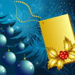 Christmas blue card - Stok Vektr
