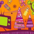 Christmas card with the tv - Stok Vektr