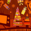 Christmas card with the tv — Imagen vectorial