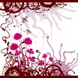 Grunge background with the flowers - Image vectorielle