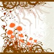 Grunge background with the flowers - Stok Vektr