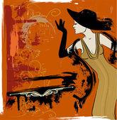 Vrouw zingen in het cabaret — Stockvector