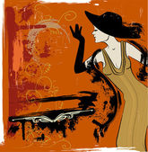 Woman singing in the cabaret — Vector de stock