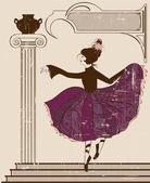 Vintage balerin — Stok Vektör