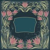 花とビンテージ フレーム — ストックベクタ