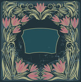Vintage frame with the flowers — Stockvector