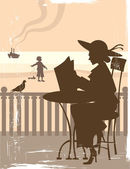 Tarjeta vintage con la playa — Vector de stock