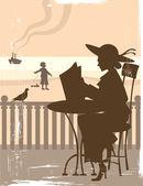 ビーチでヴィンテージのカード — ストックベクタ