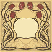 Art nouveau frame with the poppies — Vector de stock
