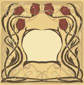 Marco de estilo art nouveau con las amapolas — Vector de stock