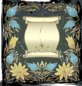 Vintage golden frame with the flowers — Stockvector