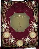 Vintage metalen frame met de bloemen — Stockvector