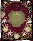 复古金属框架与花 — 图库矢量图片