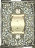 Vintage silver frame with the flowers — Vector de stock