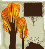 Fond automne avec les arbres — Vecteur