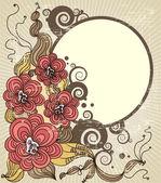 花とグランジ背景 — ストックベクタ