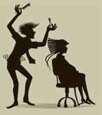 The hairdresser — Vector de stock