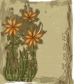 Grunge background with the flowers — Stockvector