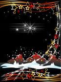 Tarjeta de navidad con la ciudad — Vector de stock