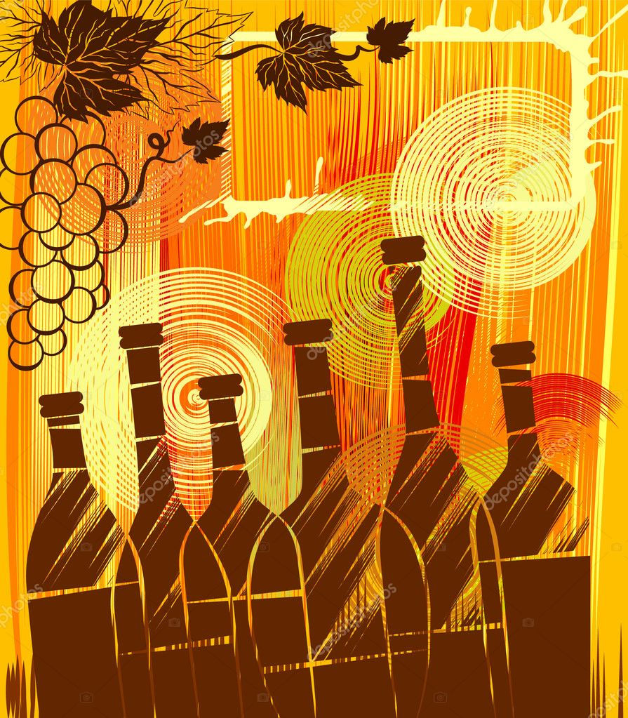 Orange background with the bottles and grapes, saved as eps8. — Stock Vector #1460022
