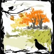 Vector de stock : Grunge autumn background