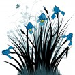 Floral background with the irises - Imagens vectoriais em stock