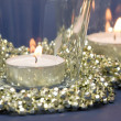 Candles and Golden Decoration Beads — Stock Photo
