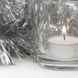 Silvery Tinsel and Candle — Stockfoto