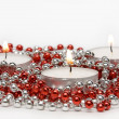 Three Candles and Decoration Beads — Stock Photo
