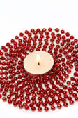 Candle and Decoration Beads — Stock Photo