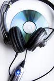 Headphones and Disk — Stock Photo