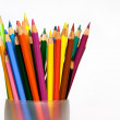 Assorted Colored Pencils in Glass — Stock Photo
