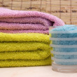 Bath Salt and Bath Towels — Stock Photo