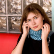 Girl in Blue Scarf Listening Music — Stok fotoğraf
